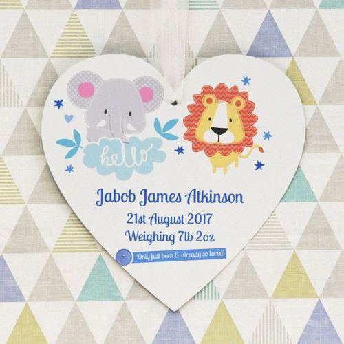 Personalised Boys Jungle Theme Hanging Heart